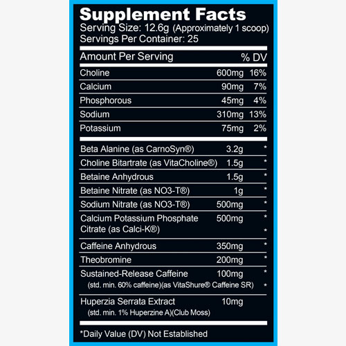 RYSE Project Blackout Pre-Workout label